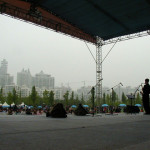 Anton warms up on the mainstage. Shanghai, China. May 3, 2004.