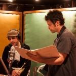 "Dominick Farinacci & Anton Schwartz. The ""Flash Mob"" CD recording session. Fantasy Studios, Berkeley, CA, May 30, 2013. Photo by Chuck Gee."