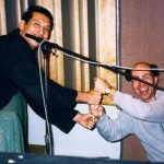 "Josh Jones and Jason Lewis celebrate after recording ""Where or When."" The ""When Music Calls"" CD recording session, November, 1997."