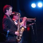 Anton with Tatum Greenblatt at Kuumbwa Jazz Center. Flash Mob CD Release Tour. March 6, 2014. Santa Cruz, CA. Photo by Jim Bourne.
