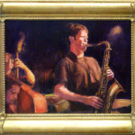 Painting: Anton Schwartz, John Shifflett (bass) & Adam Shulman. Performance at Club Elite, Cupertino, January 28, 2006. Painting by Riki R. Nelson, 2006.