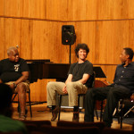 "Ray Drummond, Anton Schwartz & Willie Jones III give a ""Meet The Artist"" panel discussion at the Brubeck Institute Summer Jazz Colony. August 12, 2008. Photo by Bart Marantz."