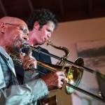 Julian Priester and Anton Schwartz. August 16, 2014. Photo by Jim Levitt.