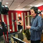 KPLU live broadcast. Anton with Inga Swearingen and Chuck Deardorf on bass. KPLU Studios, Seattle. September 11, 2015. Photo by Mike Siegel  for the Seattle Times.